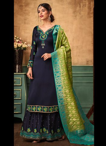 Blue and Green Embroidered Gharara Suit