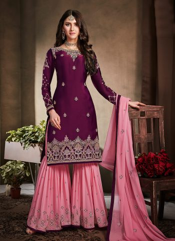 Purple and Pink Embroidered Gharara Suit
