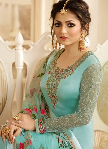 Aqua and Gold Embroidered Straight Suit
