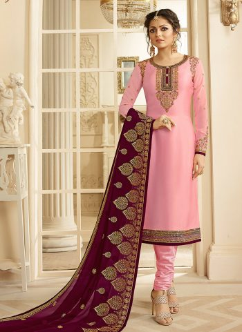 Light Pink and Gold Embroidered Straight Suit