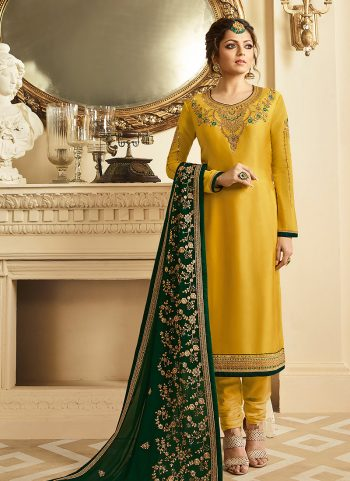 Mustard and Gold Embroidered Straight Suit
