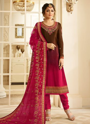Brown and Pink Embroidered Straight Suit