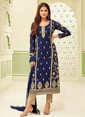 Blue Embroidered Straight Pant Suit