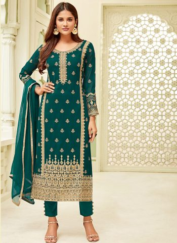 Teal Embroidered Straight Pant Suit