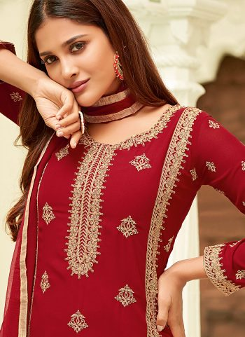 Red Embroidered Straight Pant Suit