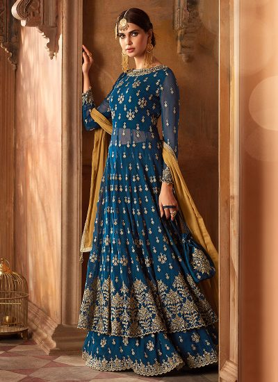 Blue and Gold Embroidered Sharara Suit