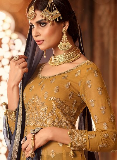 Mustard and Grey Embroidered Lehenga