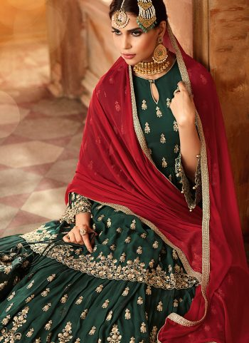 Green and Gold Embroidered Sharara Suit