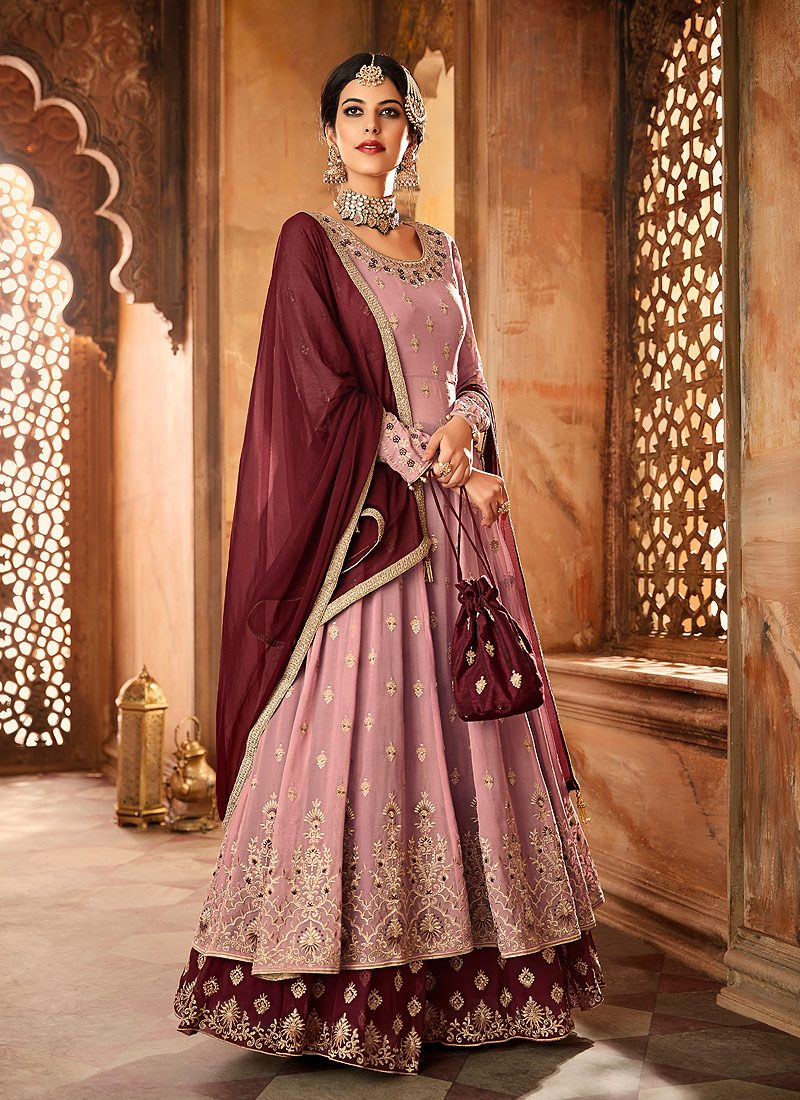 Light Pink and Maroon Embroidered Sharara Suit