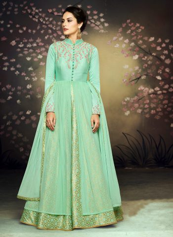 Sea Green Floral Embroidered Anarkali