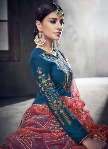 Blue Embriodered Anarkali