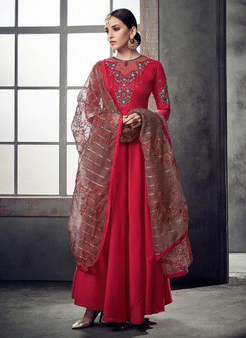 Red Embriodered Anarkali