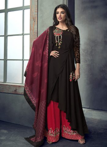 Black and Red Embroidered Palazzo Suit