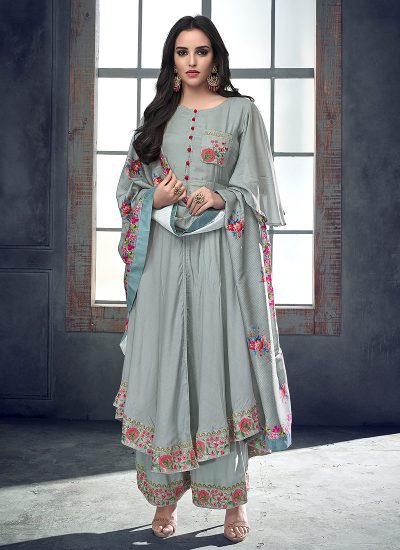 Sky Blue Floral Embroidered Palazzo Suit