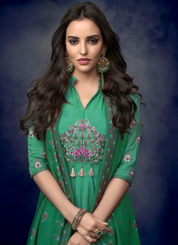 Sea Green and Green Embroidered Palazzo Suit