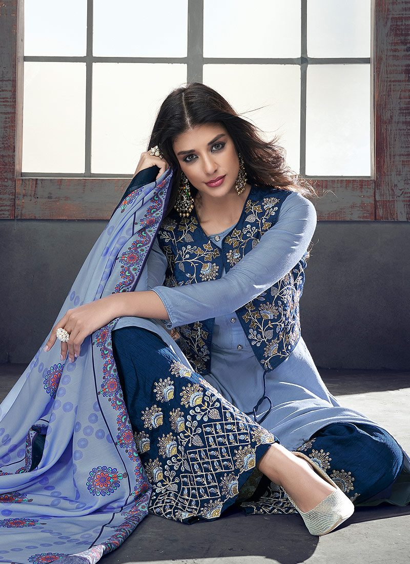 Blue Embroidered Jacket Style Palazzo Suit