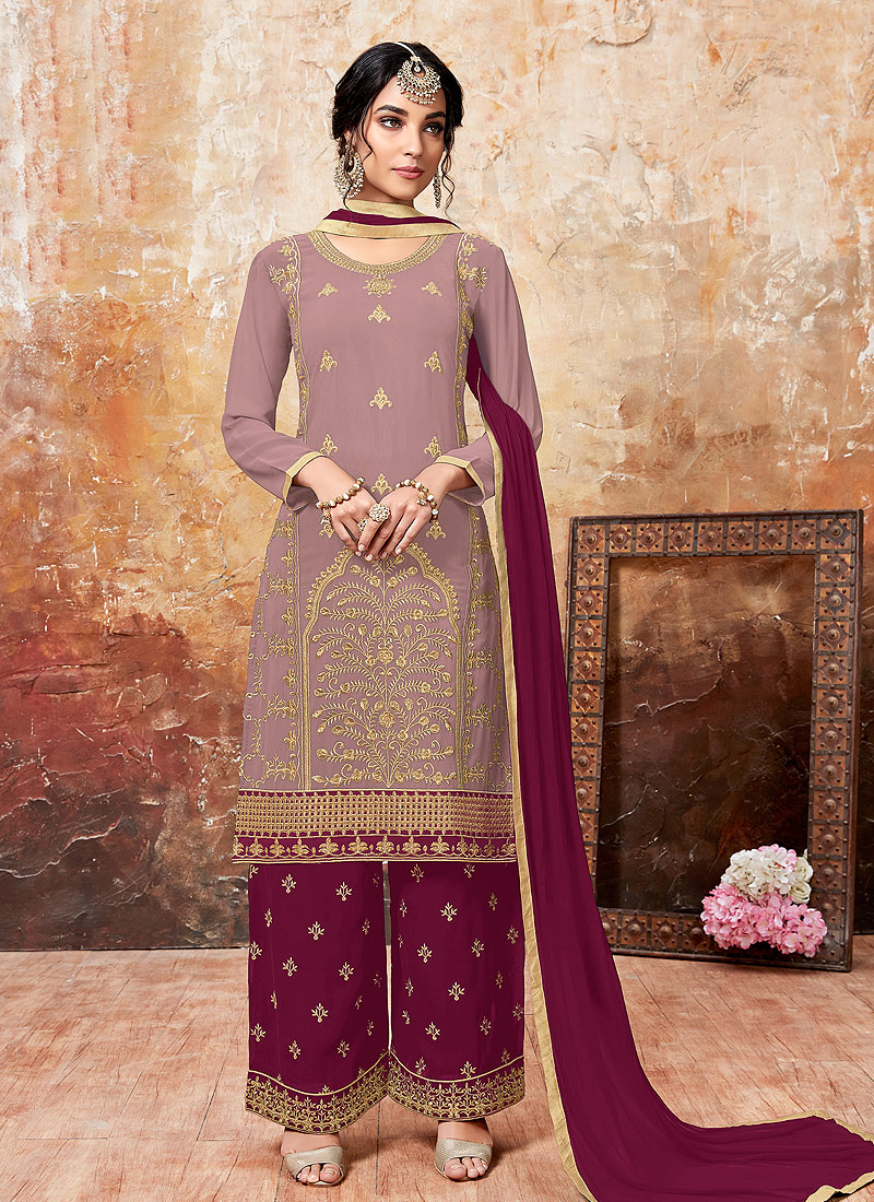 Light Purple and Pink Embroidered Palazzo Suit