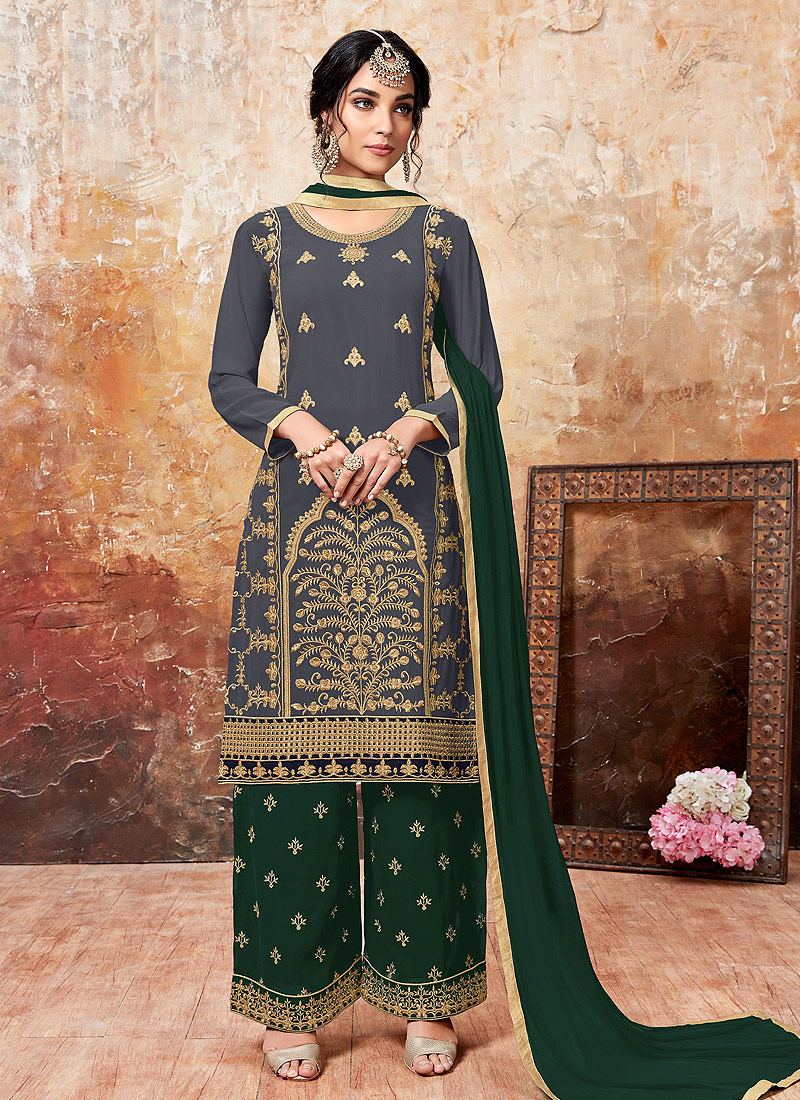 Grey and Green Embroidered Palazzo Suit