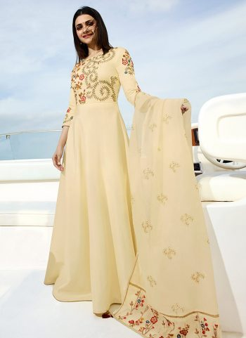 Cream Floral Embroidered Anarkali Gown