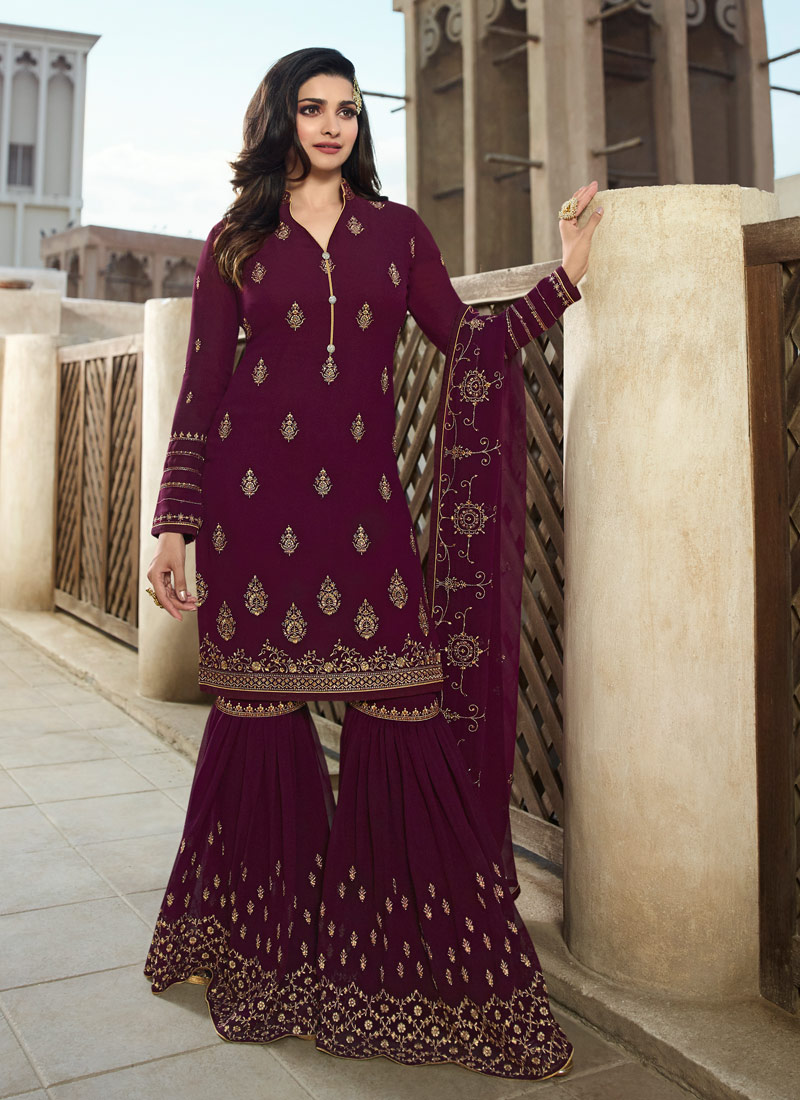 Magenta and Gold Embroidered Gharara Suit