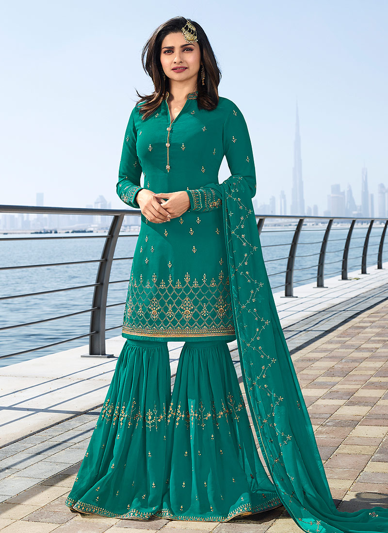 Teal and Gold Embroidered Gharara Suit
