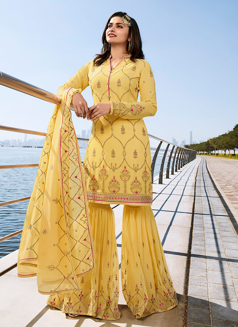 Yellow and Gold Embroidered Gharara Suit