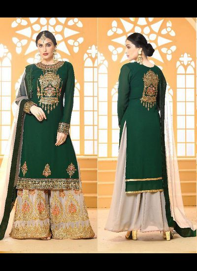 Green and Grey Embroidered Palazzo Suit