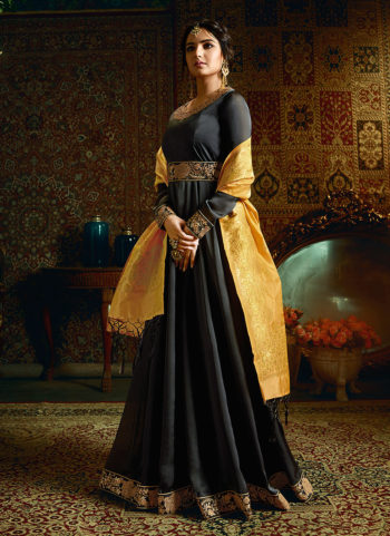 Black and Gold Embroidered Anarkali
