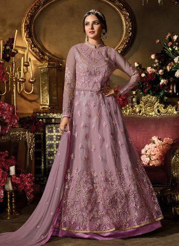 Light Purple Embroidered Lehenga/ Pant Style Anarkali