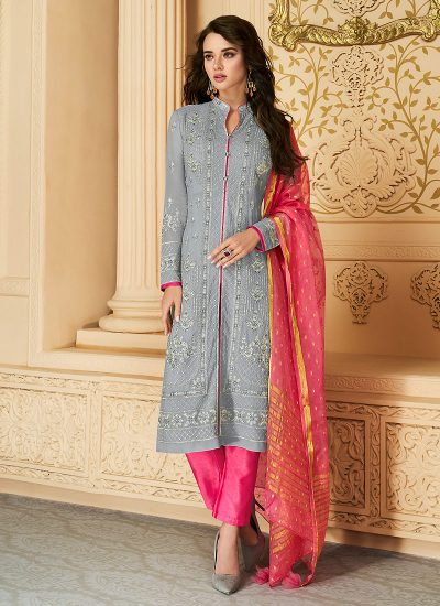 Grey and Pink Embroidered Straight Pant Suit
