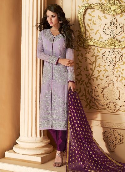 Light Purple and Purple Embroidered Straight Pant Suit