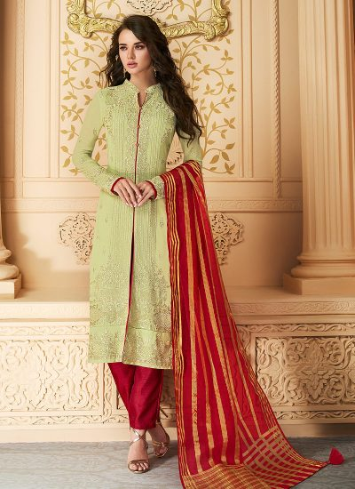 Green and Red Embroidered Straight Pant Suit
