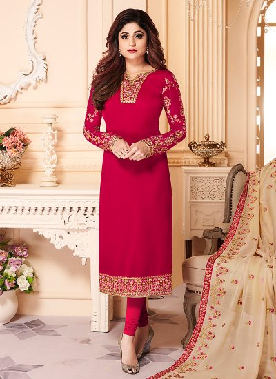 Red and Gold Embroidered Straight Suit