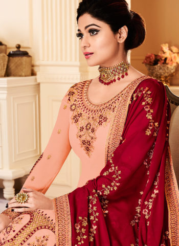 Peach and Red Embroidered Gharara Suit