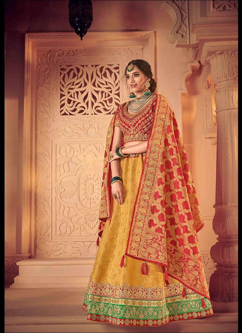 Yellow and Red Embroidered Lehenga