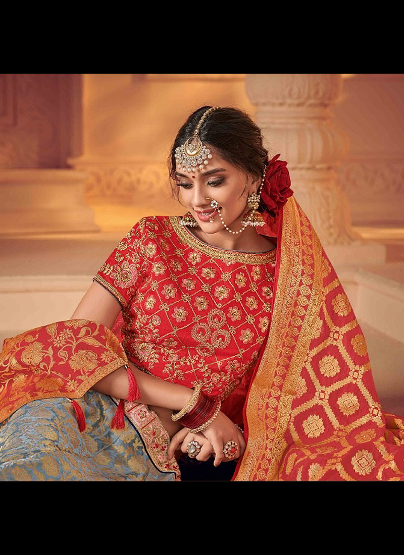 Grey and Red Embroidered Lehenga