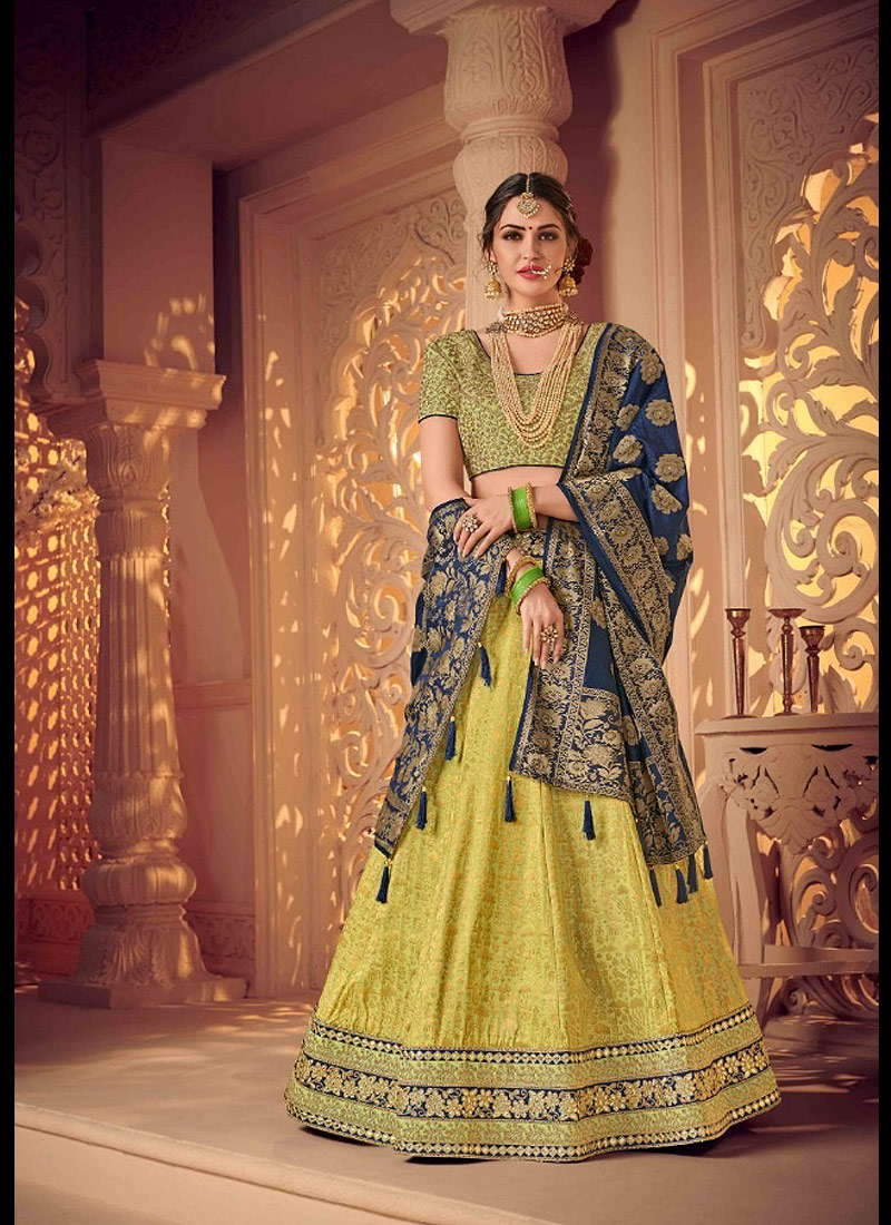 Light Green and Blue Embroidered Lehenga