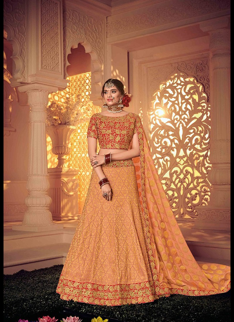 Peach and Gold Embroidered Lehenga