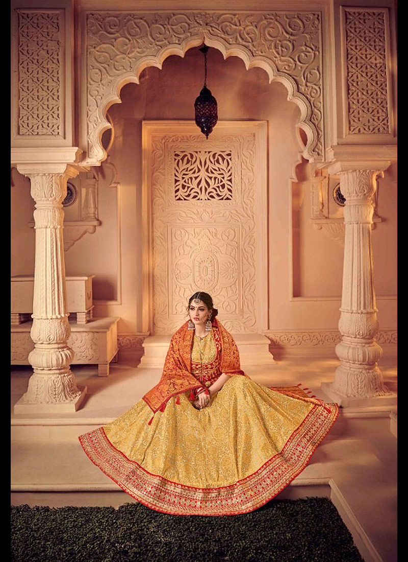 Light Yellow and Red Embroidered Lehenga