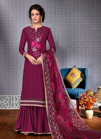 Dark Pink Embroidered Palazzo Suit