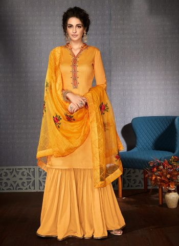 Yellow Embroidered Gharara Suit