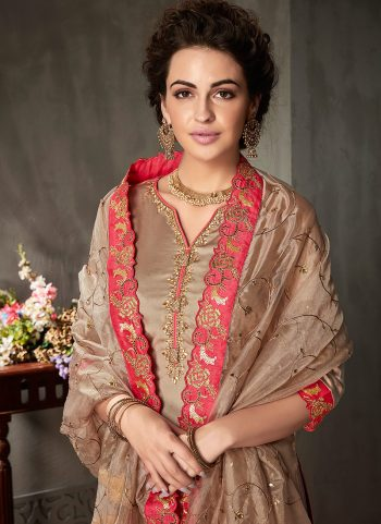 Light Brown Embroidered Gharara Suit
