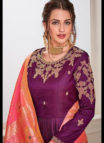 Purple and Gold Embroidered Anarkali Gown