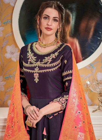 Dark Purple and Gold Embroidered Anarkali Gown