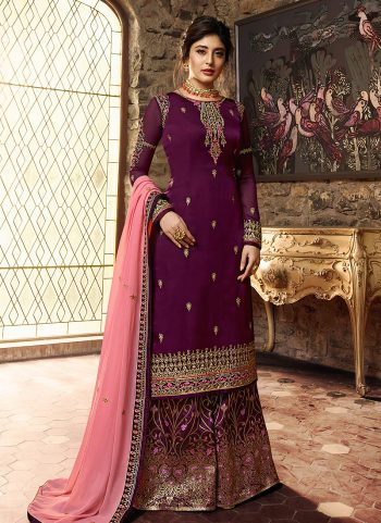 Magenta and Gold Embroidered Palazzo Suit