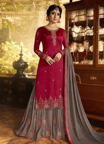 Pink and Grey Embroidered Gharara Suit