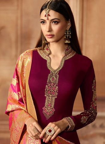 Maroon and Gold Embroidered Straight Suit