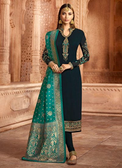 Dark Teal Embroidered Straight Suit