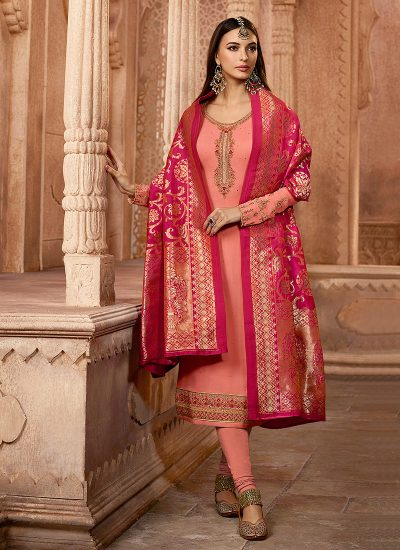 Peach and Gold Embroidered Straight Suit