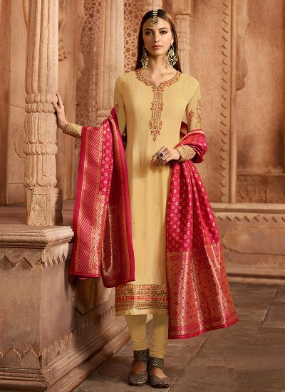 Light Yellow Embroidered Straight Suit